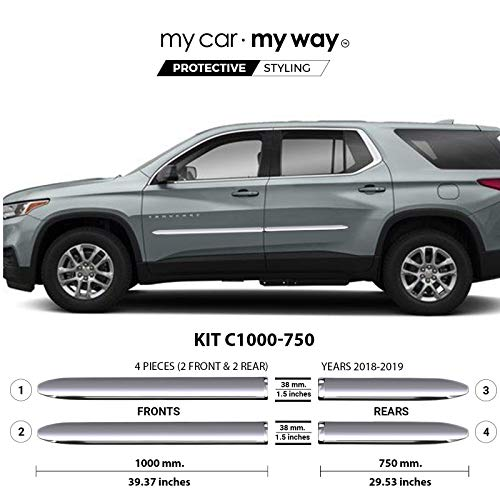 MY CAR MY WAY (Fits) Chevrolet Traverse 2018-2019 Chrome Body Side Molding Cover Trim Door Protector ()