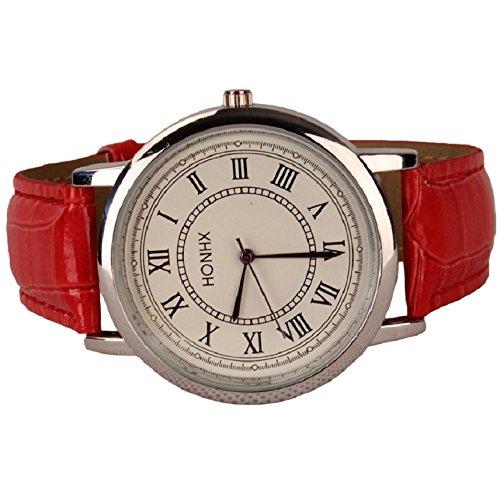Sandistore Mens Womens Ladies Leather Rome Quartz Analog Wrist Watch(Red)