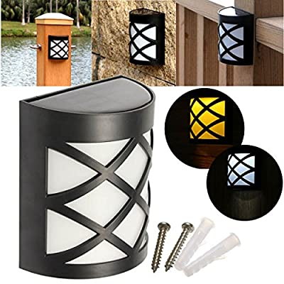 Solar Power 6 LED Garden Fence Lamp Wall-mounted Courtyard Lawn Decor Wall Light (Random: Color)