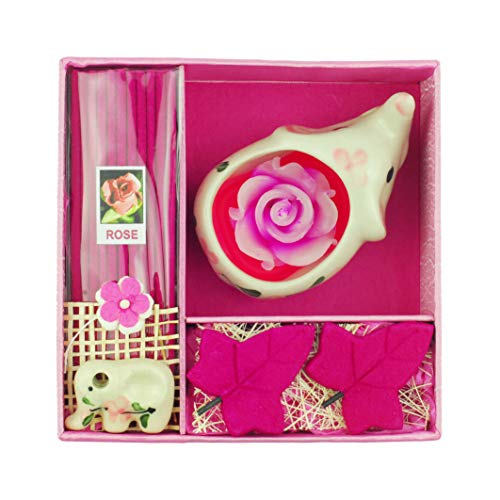 Tom Barrington Ceramic Elephant Tea Light Candle Holder with Rose Scented Incense Set, Hand Painted