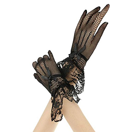 Perfk 2枚 ワンピース ドレス 花嫁 レース手袋 グロブ 手首 ちょう結び メッシュ レディース 白+黒