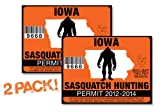 Iowa-SASQUATCH HUNTING PERMIT LICENSE TAG DECAL TRUCK POLARIS RZR JEEP WRANGLER STICKER 2-PACK!-IA