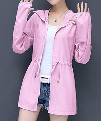 Tops Pink Long Women Tunic Howme Sleeve Hooded Mid Coat Long Solid Sunscreen qgPvRO
