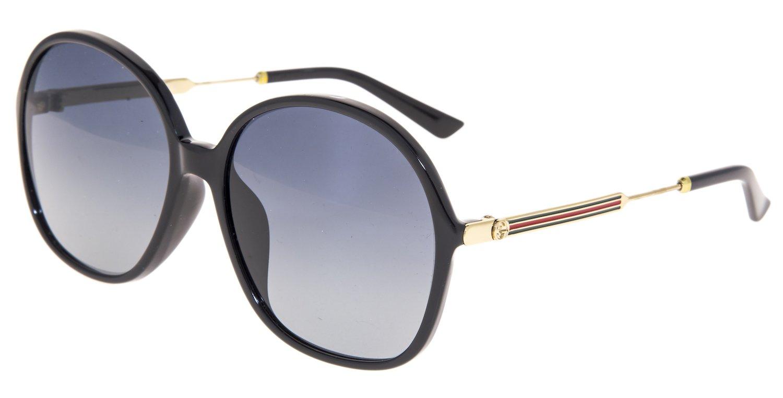 GUCCI WEB 3855 Gold Metal Oversized Black Blue Sunglasses GG3855FS Asian Fit