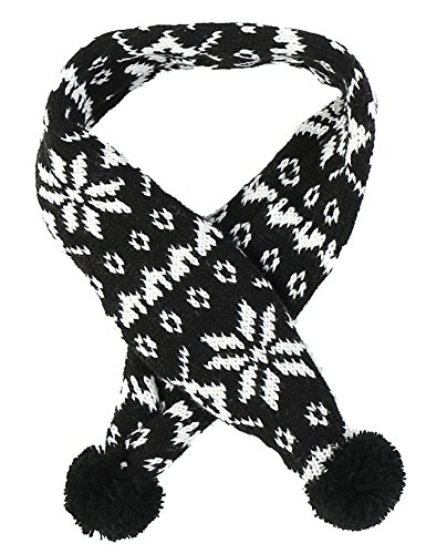 Black Knitted Snowflake Winter Accessories Scarf for Cat Kitten Pet, Black Small
