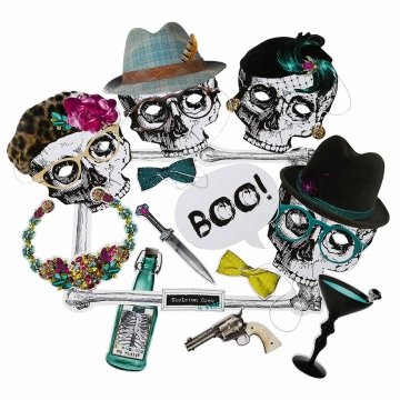 Halloween Accessories London (Talking Tables Skeleton Crew Photobooth Kit for a Halloween party, Multicolor)