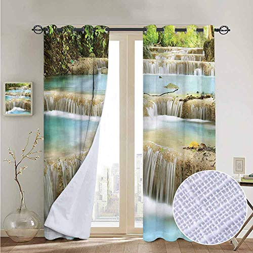 NUOMANAN Blackout Curtain Panels Window Draperies Waterfall,Rock Stairs in Forest,for Bedroom, Kitchen, Living Room 84