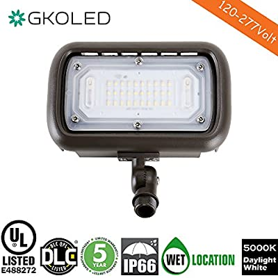 """GKOLED 30W LED Floodlight, Outdoor Security Fixture, Waterproof, 100W PSMH Replace, 3000 Lumens, 5000K Daylight White, 70CRI, 1/2"""" Adjustable Knuckle Mount, UL-Listed & DLC-Qualified, 5 Years Warranty"""