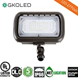 GKOLED 30W LED Floodlight, Outdoor Security Fixture, Waterproof, 100W PSMH Replace, 3000 Lumens, 5000K Daylight White, 70CRI, 1/2'' Adjustable Knuckle Mount, UL-Listed & DLC-Qualified, 5 Years Warranty