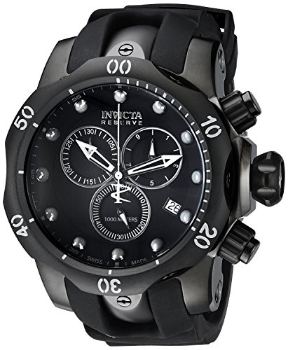 Invicta Men's 6051 Venom Reserve Black Stainless Steel Watch with Polyurethane Band Invicta Reserve Venom