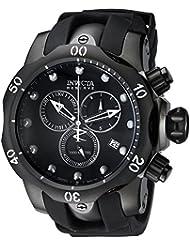 Invicta Mens 6051 Venom Reserve Black Stainless Steel Watch with Polyurethane Band