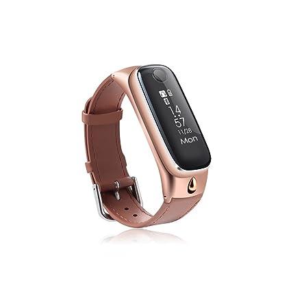 2 en 1 pulsera inteligente con diseño de auricular bluetooth,Correa de cuero , Reloj pulsera de ...