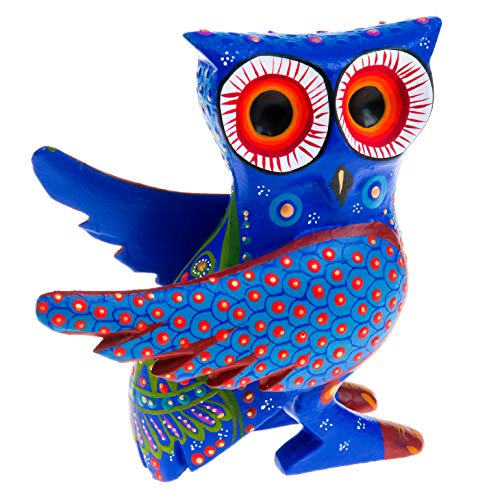 Magnificent Blue OWL Handcrafted Oaxacan Alebrije Wood Carving Mexican Folk Art Sculpture Painting Colorful Mexican Folk Art