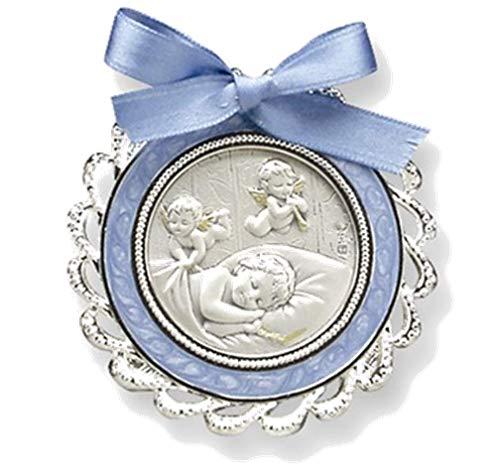 (Sterling Silver Boy's Blue Crib Medal (5.25 X 7.2)
