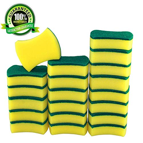 Borogo Cleaning Scrub Sponge - Non-Scratch Heavy Duty Scrub Sponge, 20-Pack Thin Magic Dish Eraser Kitchen Scrub Sponges Multi-Use for Kitchen - Bathroom - Car - Odor Free & More