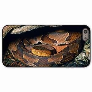 iPhone 5 5S Black Hardshell Case hide moss rocks snake Desin Images Protector Back Cover WANGJING JINDA