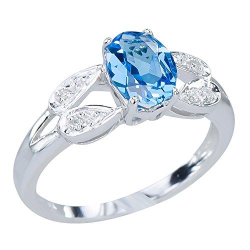 Glittering Women's Natural Swiss Blue Topaz Gemstone 9K W...