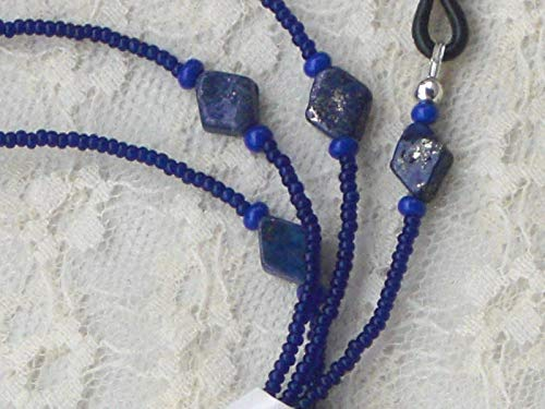 (Lapis Blue Beaded Eyeglass Chain Holder Necklace Diagonal Design 28 inches )