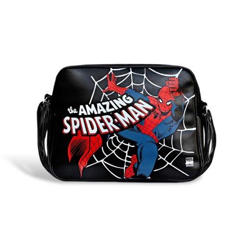 Marvel Retro Schultertasche Spiderman - Original Lizenzprodukt Umhängetasche Schwarz