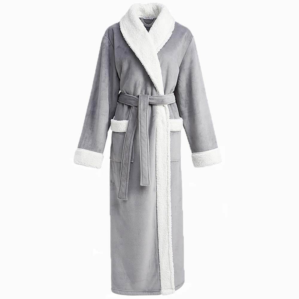 HUIFANG Autumn and Winter New Women's Fashion Arctic Velvet Gray Green Long Bathrobe (Color : Green, Size : M)