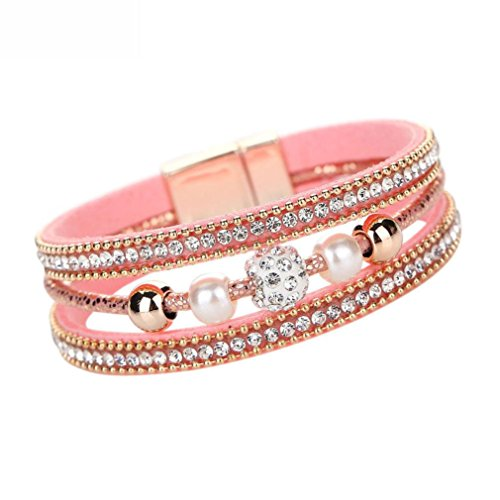 - Willsa Jewelry for Women, Multilayer Bangle Bracelet Crystal Beaded Leather Wristband (Pink)