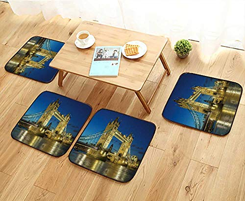 Elastic Cushions Chairs Tower Bridge from The North Bank at Dusk,London,UK for Living Rooms W29.5 x L29.5/4PCS Set (Wicker Hanging Uk Chair)