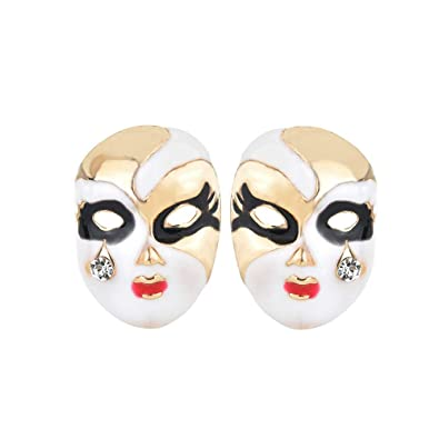 Amazon.com: Individuality Oiled Face Mask Stud Earring Chinese Peking Opera Makeup Earrings for Girls: Jewelry