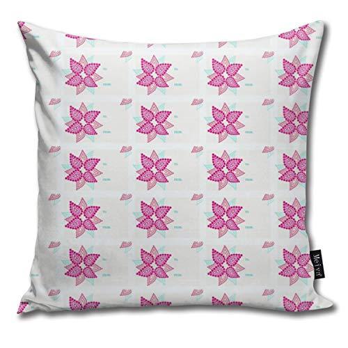 Hailiy Modern Poinsettia Gift Tag Home Decorative Throw Pillow Case Cushion Cover for Gift Bed Car Sofa