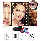 LED Makeup Mirror with 1X 2X 3X 10X Magnifying Mirror Trifold 22 LED Lighted Mirror, USB Charging Touch Screen and 180 Degree Stand for Countertop Cosmetic Makeup (Black)