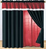 Modern Black, White, Burgundy Hampton Window Curtain / Drape Set with Sheer Backing 120-by-84-Inch Review