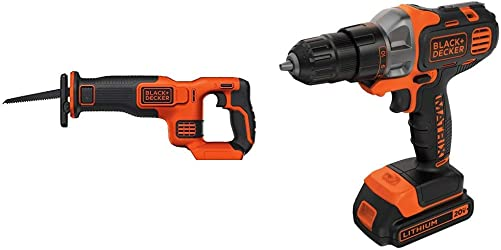 BLACK DECKER BDCR20B 20V Max Lithium Bare Reciprocating Saw with BLACK DECKER BDCDMT120C 20-Volt MAX Lithium-Ion Matrix Drill Driver