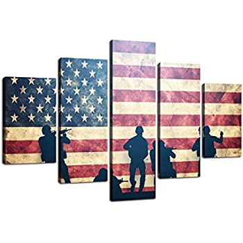 USA Wall Pictures for Living Room American Flag Canvas Print Vintage Modern Painting US 5pcs Framed Posters and Prints Office Giclee Print Gallery Wrap Artwork Stretched Hooks(60''Wx40''H)