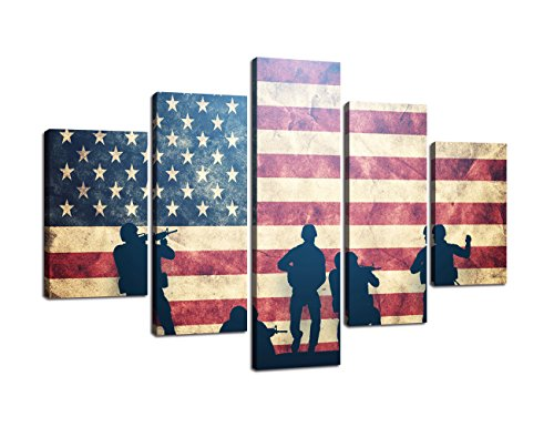 Picture Vintage Framed (USA Wall Pictures for Living Room American Flag Canvas Print Vintage Modern Painting US 5pcs Framed Posters and Prints Office Giclee Print Gallery Wrap Artwork Stretched Hooks(60''Wx40''H))