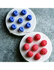 2-Pack Small Size Blueberry & Raspberry Fondant Molds - MoldFun Berry Silicone Mould for Gum Paste, Cupcake Decorating, Polymer Clay, Chocolate, Candy, Gummy (Pink/White)