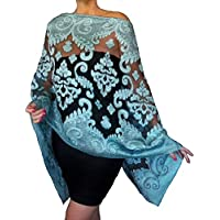 75d64b71754 Light Blue Evening Wrap Aqua Shawl Black Organza Wedding Stole By ZiiCi