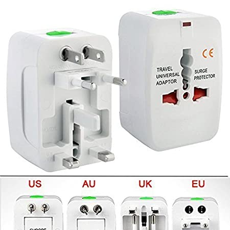 All in One Universal International Travel AC Power Squar Charger with AU US UK EU Converter Plug Worldwide Adaptor  White  Surge Protectors