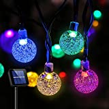 VAGREEZ Solar String Lights 30 LED 20Ft Outdoor String Lights Waterproof Crystal Bubble Ball Fairy Lights for Garden Patio Christmas Decorations or Holiday Decorations