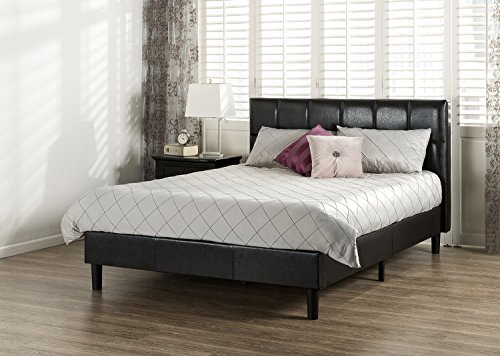 Zinus Grand Faux Leather Upholstered Square Detailed Premium Platform Bed with Wooden Slat Support, Queen (Platform Bed Faux Leather)