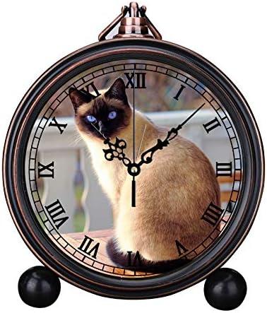 MAFALE R/éveil R/étro Europ/éen Ronde Horloge /à Quartz Simple T/ête de lit R/éveil Num/érique R/éveil Vacances Cloche R/éveil Chat en Plein air