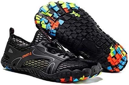 NinJaSun Amantes Descalzos Zapatos de Agua Zapatos para Caminar Cinco Dedos Zapatos de la Playa de Buceo de Gran tamaño de Secado rápido Negros,41: Amazon.es: Deportes y aire libre
