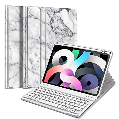 Fintie Keyboard Case for iPad Air 4 10.9 Inch 2020 - [Built-in Pencil Holder] Soft TPU Back Cover with Magnetically Detachable Wireless Bluetooth Keyboard for iPad Air 4th Generation, Marble White