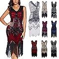 Flapper Dress,Gatsby Dresses for Women 1920s Art Deco Sequin Evening Dress Paisley Flapper Tassel Party Cocktail Dresses