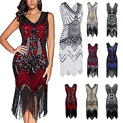 Flapper Dress,Gatsby Dresses for Women 1920s Art Deco Sequin Evening Dress Paisley Flapper Tassel Party Cocktail Dresses