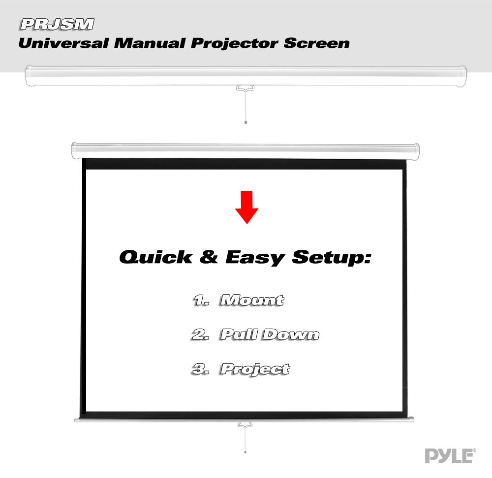 Pyle PRJSM7206 Universal 72-Inch Roll-Down Pull-Down Manual Projection Screen (42.5'' x 56.6'') Matte White by Pyle