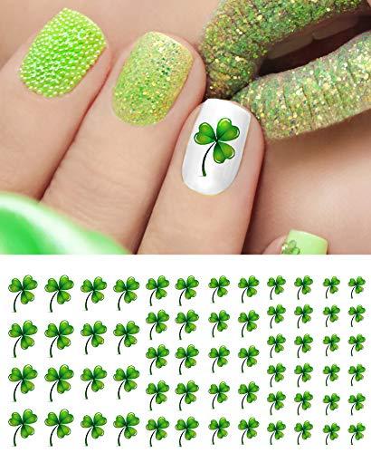 (St. Patricks Day Shamrock Water Slide Nail Art Decals - Salon)