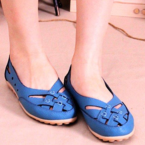 YAANCUN Mujeres Comodidad Hueca Transpirable Mocasines Suave Auténtico Cuero Zapatos De Conducción Como la imagen