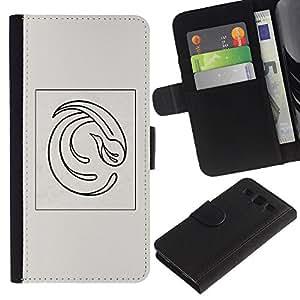 Billetera de Cuero Caso Titular de la tarjeta Carcasa Funda para Samsung Galaxy S3 III I9300 / Bird Minimalist Grey Black Poster / STRONG