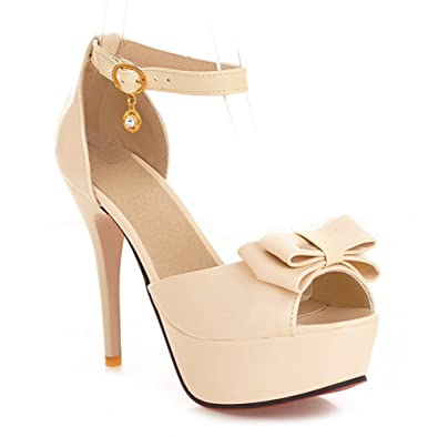adc34649e9 Summerwhisper Women's Sexy Bowknot Ankle Strap Platform Sandals Peep Toe  Stiletto High Heel Shoes Beige 4