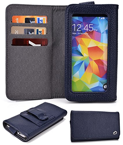 Alcatel One Touch Idol X+:Universal Cover w/Card Slots, Clear Window, Belt Clip (MONSOON SKY) NuVur ™