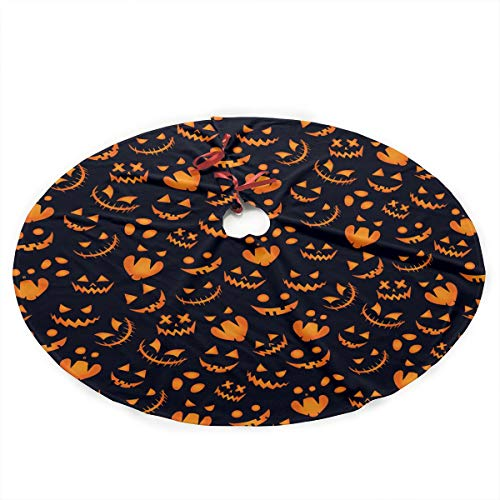 (NGFF Halloween Pumpkin Background Cute Santa and Snowman Dolls Design Christmas Tree Skirt Gorgeous Xmas Tree Decoration)